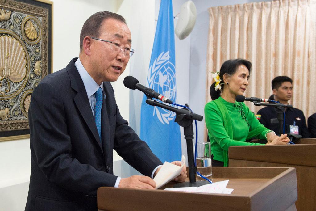 Ban Ki-moon benoemt Rohingya bij naam in bijzijn van Aung San Suu Kyi