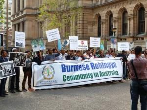 In diverse landen zijn de afgelopen dagen demonstraties geweest tegen het anti-moslimgeweld in Myanmar, zoals in Australië op 21 oktober.