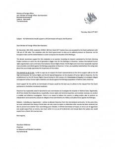 De brief aan Minister Koenders van Buitenlandse Zaken