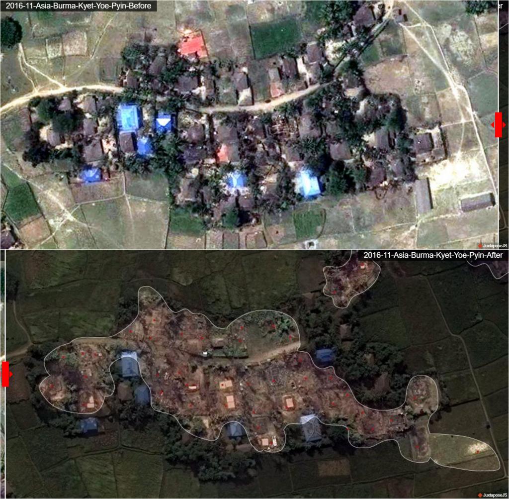 Door satellietfotos te vergelijken is de vernietiging van moslimdorpen duidelijk zichtbaar.
