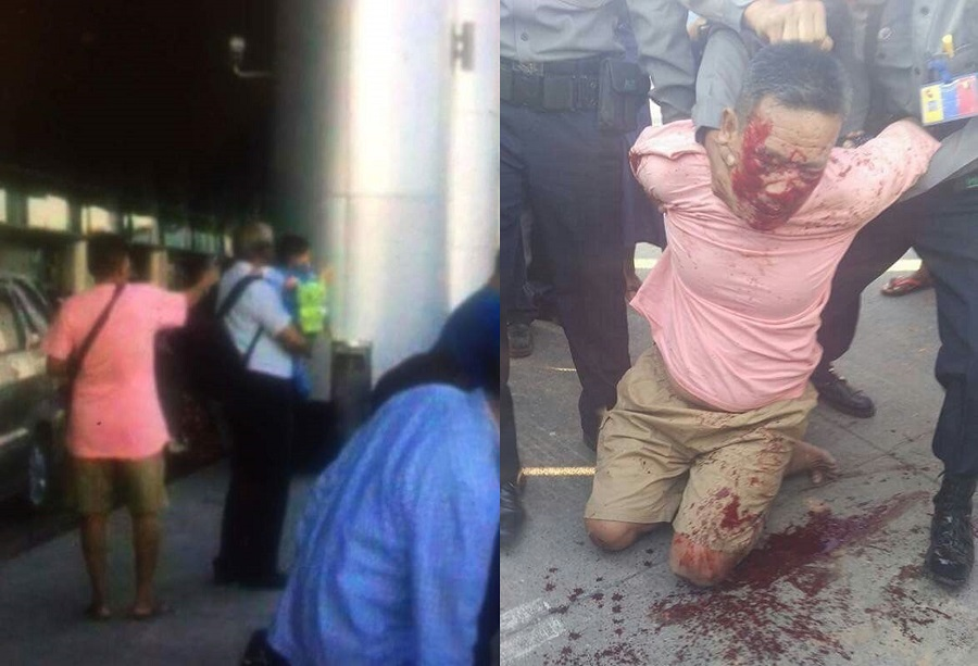 Links: het moment dat Ko Ni werd doodgeschoten. Rechts: de dader in handen van de politie.